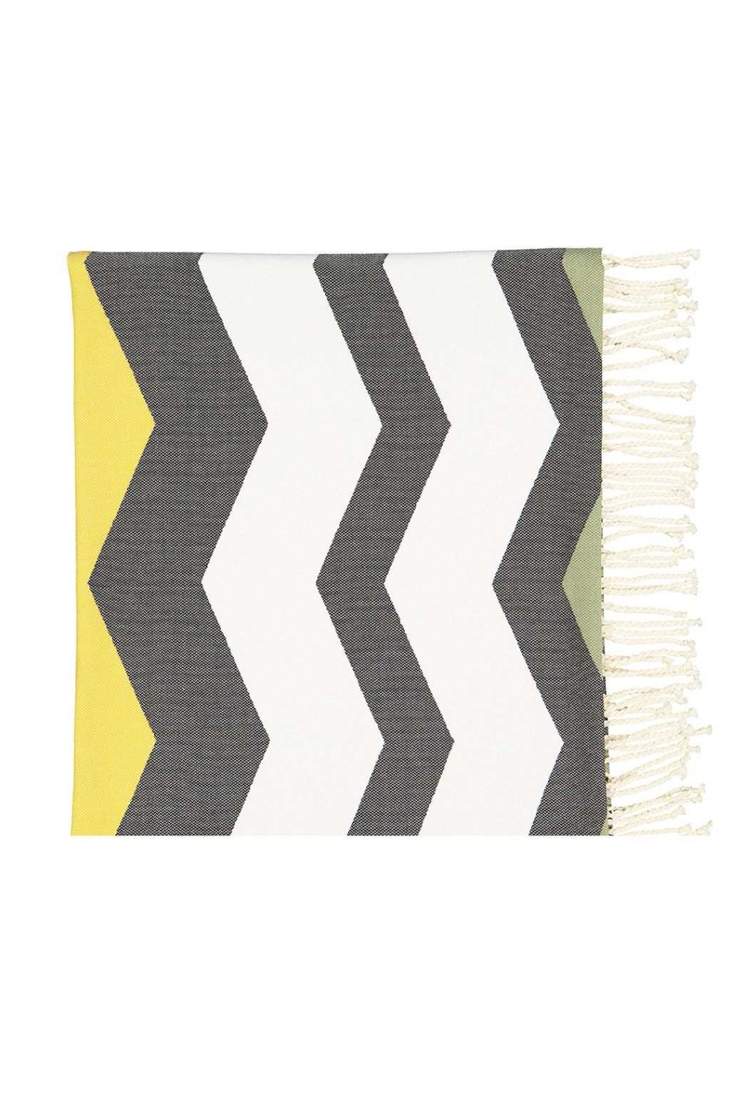 Futah Beach Towel odeceixe black & mustard Folded