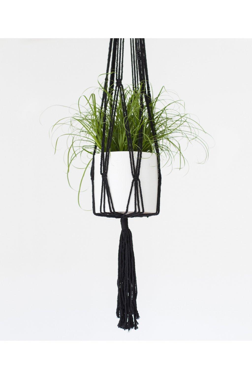 zavesny kvetinac macrame cerny 103cm