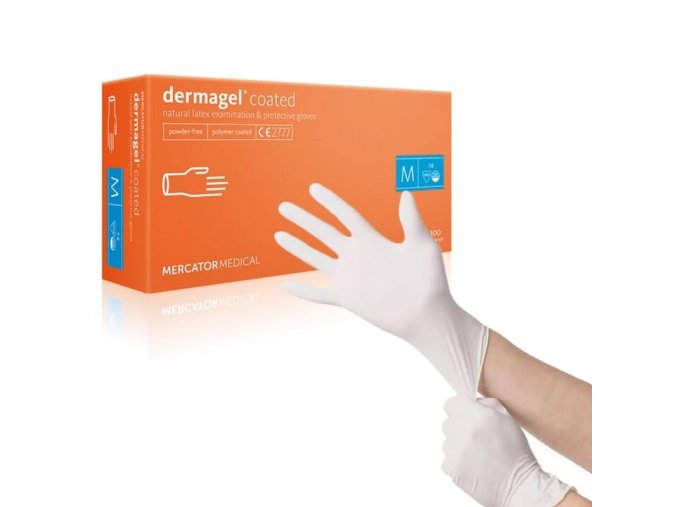 20568 3 jednorazove rukavice mercator medical nepudrovane dermagel coated 100 ks vel l