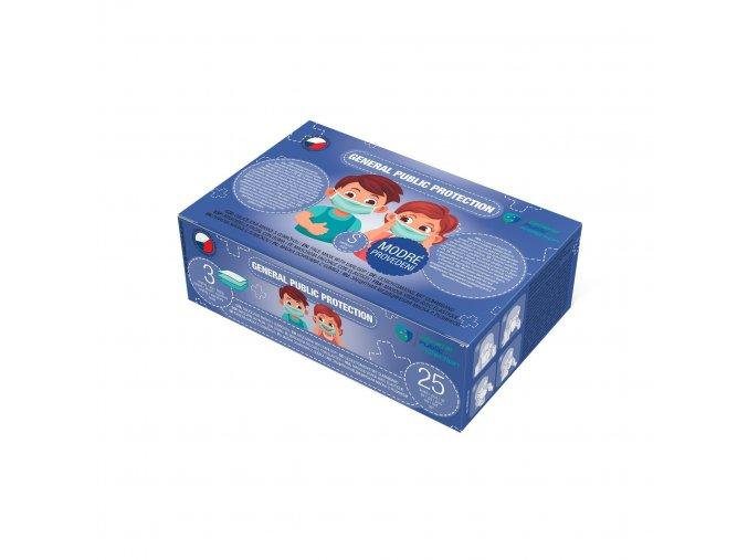 20811 5 trivrstva jednorazova rouska ceske vyroby pro deti modra vel s 25 ks