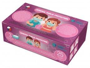 20922 1 trivrstva jednorazova rouska ceske vyroby pro deti ruzova vel s 5 ks