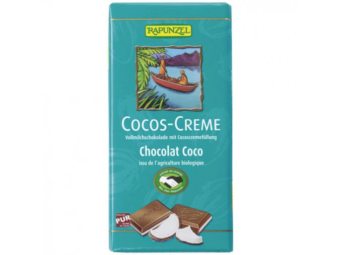 BIO mléčná čokoláda s kokosovým krémem