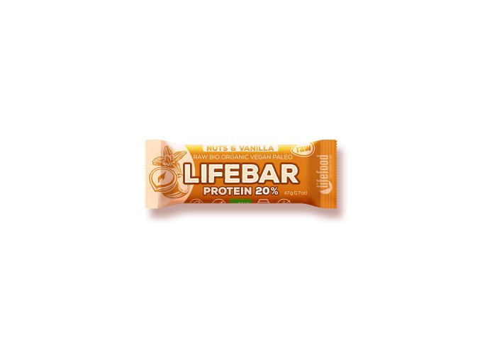 Lifebar Protein oříšková s vanilkou BIO RAW