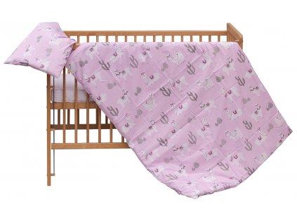 Dětské povlečení 2dílné Scarlett Lama - růžová 100 x 135 cm