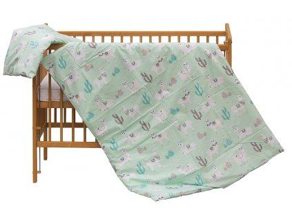 Dětské povlečení 2dílné Scarlett Lama - zelená 100 x 135 cm