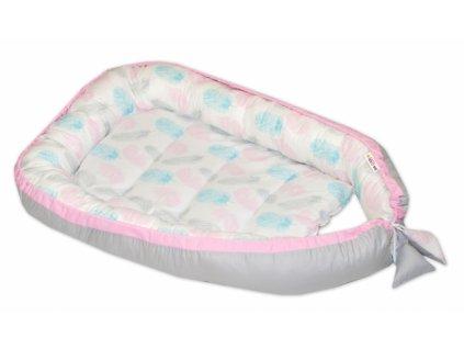 Baby Nellys Oboustranné hnízdečko, kokon 60x90cm - Pírka, šedá/růžový lem