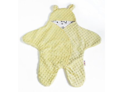 Baby Nellys Fusak, spacáček do autosedačky nebo kočárku s oušky, minky - krémově žlutý