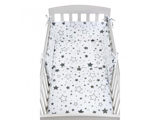 3-dílné ložní povlečení New Baby 90/120 cm hvězdy šedé