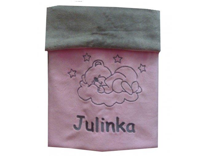 Deka pro miminko s výšivkou jména - růžová šedá