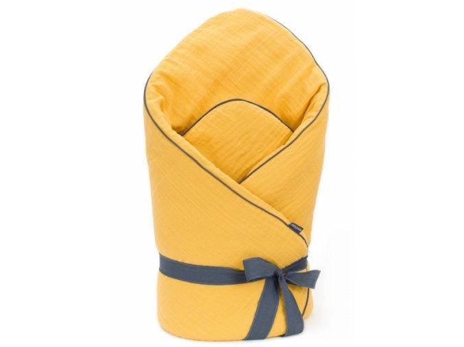 Mamo Tato Kojenecká zavinovačka, mušelinová double na zavazování, 70x70cm - hořčicová