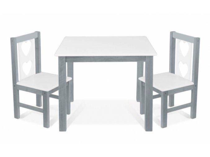 BABY NELLYS Dětský nábytek - 3 ks,  stůl s židličkami - šedá , bílá, B/05
