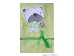 Dětská deka Koala Srdíčka zelená s medvídkem
