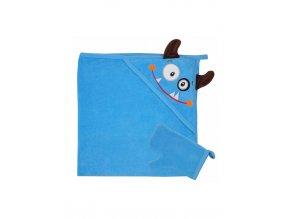 Dětská osuška s žínkou v krabičce Koala Tvoreček 100x90 cm modrá