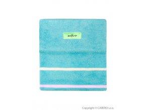 Dětská bavlněná deka Womar 75x100 světle tyrkysová růžový pruh