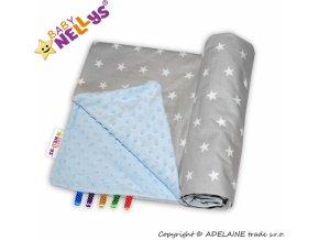 MINKY Baby Luxusní dečka Klasik - Hvězdičky v šedé/sv.modrá