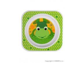 Dětský talířek Akuku zelený s žabičkou