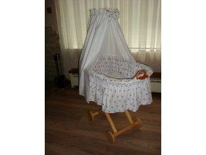 proutěný košík pro miminko - šedé hvězdičky na bílé