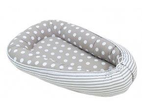 Oboustranné hnízdečko - kokon pro miminko -Bubble retro šedé / proužky šedé