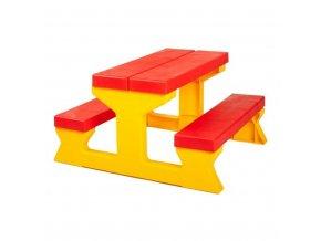 Dětský zahradní nábytek - Stůl a lavičky červeno-žlutý