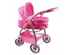 Multifunkční kočárek pro panenky PlayTo Jasmínka světle růžový