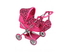 Hluboký kočárek pro panenky PlayTo Viola růžový