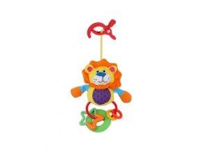 Plyšová hračka s chrastítkem Baby Mix lev s klipem