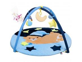 Hrací deka s melodií PlayTo spící medvídek modrá