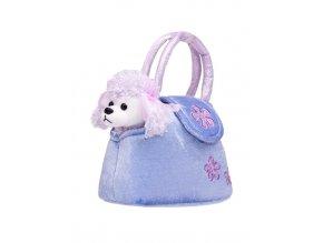 Dětská plyšová hračka PlayTo Pejsek v kabelce fialová