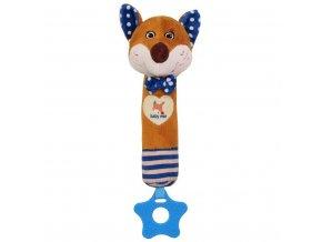 Dětská pískací plyšová hračka s kousátkem Baby Mix liška modrá