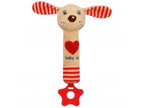 Dětská pískací plyšová hračka s kousátkem Baby Mix pejsek červená