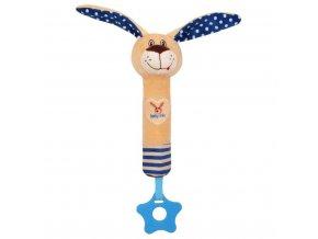 Dětská pískací plyšová hračka s kousátkem Baby Mix králíček modrá