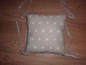 Samostatný polštář - polštářový mantinel 30x30cm - hvězdy na šedé