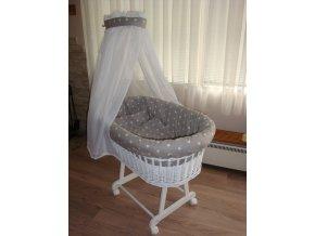 Bílý luxusní košík pro miminko - hvězdičky