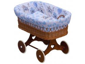 Proutěný koš na miminko - Scarlett Kulíšek  - modrá