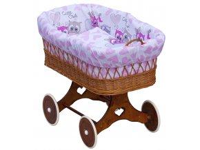 Proutěný koš na miminko - Scarlett Kulíšek  - růžová