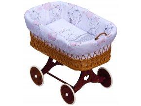 Proutěný koš na miminko - Scarlett Gusto  - růžová