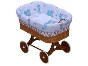 Proutěný koš na miminko - Scarlett Pupis  - modrá