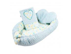 Luxusní hnízdečko s polštářkem a peřinkou New Baby Srdíčko modré