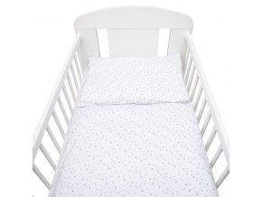 2-dílné ložní povlečení New Baby 100/135 cm bílé šedé hvězdičky