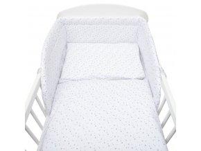 3-dílné ložní povlečení New Baby 100/135 cm bílé šedé hvězdičky