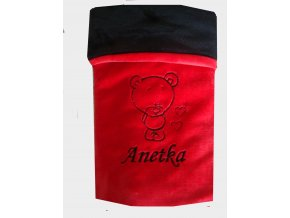 deka cerveno cerna medvidek se srdicky anetka