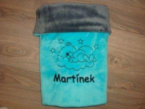 Dětská deka s medvídkem na mráčku -  jméno na přání