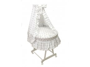 Košík pro miminko s kompletní výbavou šedé hvězdy na bílé