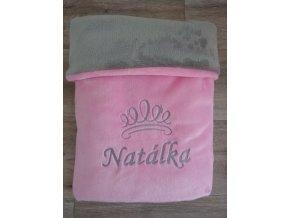 Dětská deka do kočárku se jménem na přání- korunka