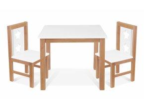 BABY NELLYS Dětský nábytek - 3 ks,  stůl s židličkami - přírodní , bílá, C/08