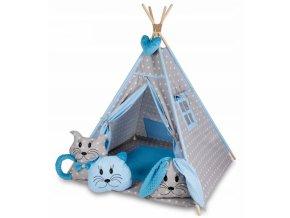Baby Nellys Stan pro děti týpí s velkou výbavou - šedý, modrý