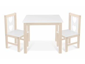 BABY NELLYS Dětský nábytek - 3 ks,  stůl s židličkami - přírodní lll., bílá, B/03