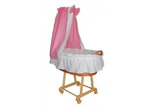 Košík na miminko II s nebesy - bílá+růžová