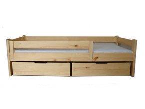 Dětská postel TADEÁŠ se zábranou a šuplíky - masiv, borovice