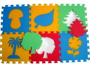Pěnový koberec 8mm, 6dílů - rostliny